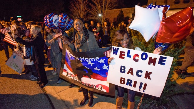 Families welcome the 217th Military Police Co., an Alabama Army National Guard unit, back to Prattville, Ala. on Friday March 4, 2016 after the unit was deployed for nine months as part of Operation Freedom's Sentinel.