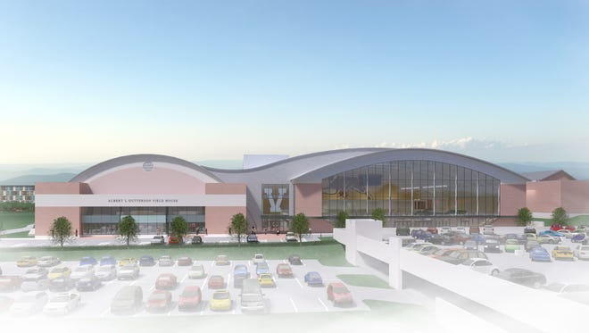 A design rendering shows the eastern entrance of the University of Vermont's proposed multi-purpose events center. The school's Board of Trustees approved $1 million on Oct. 21 for further design development on the project.