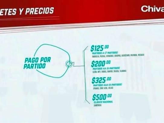 Estos son los paquetes y los precios, mismos que ya