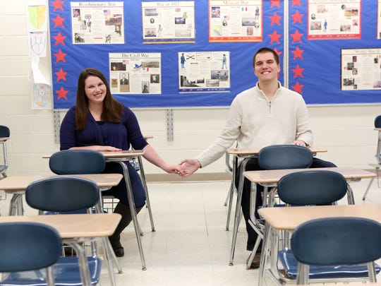 Kristen Fincham and Alex Nelson return to the classroom they were reunited in at Arlington High School in LaGrangeville, Feb. 3, 2017.