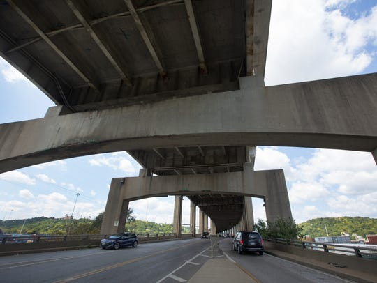 A view of the Western Hills Viaduct looking west.