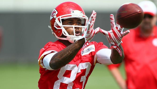 Kansas City Chiefs wide receiver Fred Williams catches a pass during a recent practice. Williams played collegiately at St. Cloud State.
