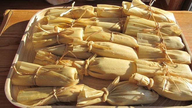 A tray of hand-made tamales from Gina's Tamales, a Mexican food stand at the Alliance for the Arts GreenMarket Saturday.
