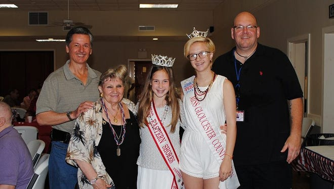 (From left)  Alex Kaganzev, Pearl Giordano, Miss Eastern Shores Pre-Teen Rylee Howerton, Miss Gloucester County's Outstanding Teen Shellby Watts and Derick Glenn attend the Father's Day breakfast honoring veterans.