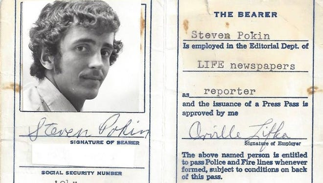 My first professional press pass. It was 1975 and I was paid the lavish sum of $127 a week.