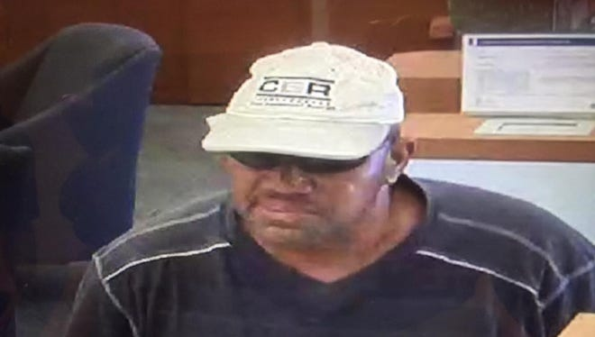 The man who robbed a PNC Bank Saturday appears in this surveillance photo.