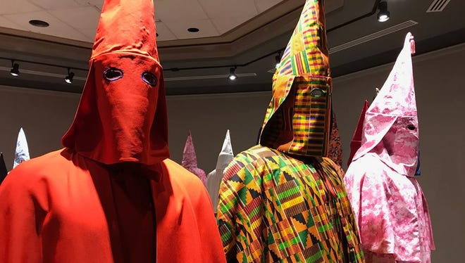 Baltimore artist Paul Rucker's REWIND exhibit on racial injustice in the United States is on display at York College Galleries where it is open only to students, others with York College IDs and invited guests.