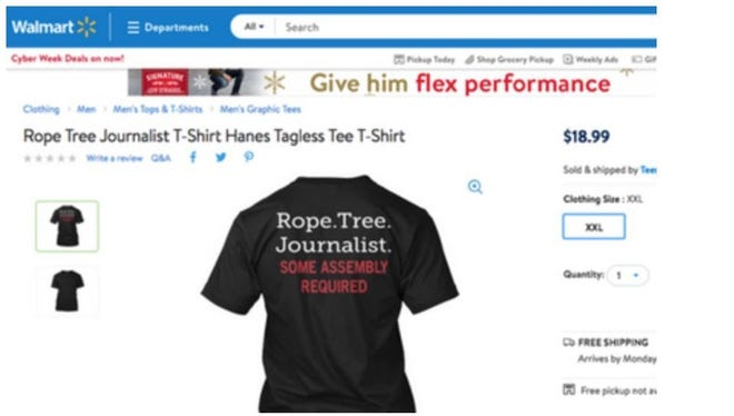 A T-shirt sold by third-party vendor Teespring on the Walmart site. It was taken down by the company when it was alerted to the wording by the  Radio Television Digital News Association on Nov. 29, 2017.