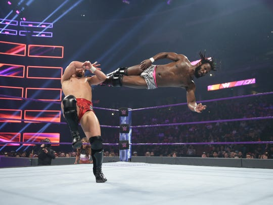 Rich Swann delivers a dropkick during a match against Noam Dar.