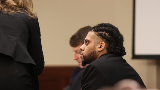 Kyle Batiz sits in court during his trial at the Montgomery County Courthouse on Tuesday. Batiz was charged with the 2014 homicide of his one-year old stepdaughter Winter Denny.