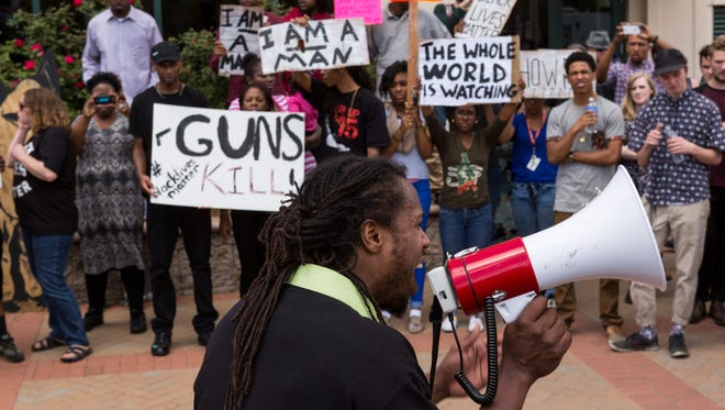 A rally is held to protest the death of Walter Scott in North Charleston, S.C., on April 8, 2015.