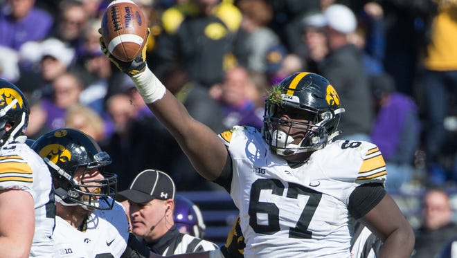 Iowa defensive lineman Jaleel Johnson recorded 45 total tackles last year as a junior, including 5.5 tackles for loss and four sacks.