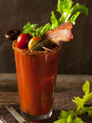 Homemade bacon spicy vodka bloody mary.