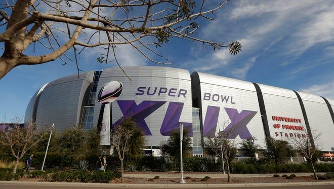 The Super Bowl XLIX logo is displayed on the University of Phoenix Stadium before the Pro Bowl on Sunday.