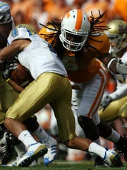 Tennessee defensive back Derrick Furlow (6) defends against UCLA wide receiver Terrence Austin (4) on Saturday, Sept. 12, 2009 at Neyland Stadium.  The Vols lost 19-15 to the Bruins.