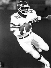 Bruce Harper running the ball in 1984 on the New York Jets.