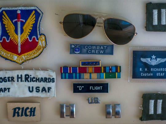 Belongings of Vietnam War veteran Roger Richards, 84, in his East Naples home on Thursday, June 23, 2017. Richards served 14 years as a pilot in the Air Force and then worked 27 years for American Airlines.