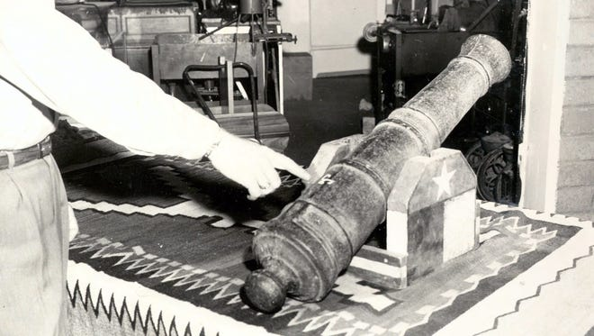 10/14/1959 MCGINTY CANNON FOUND - Paul Howell has the old McGinty Cannon in his home. The validity of the cannon is shown by a mark on the barrel near the touch hole.