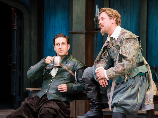 "Quinn Mattfeld plays Will Shakespeare and Shane Kenyon plays Kit Marlowe and in the Utah Shakespeare Festival's 2017 production of ""Shakespeare in Love."""