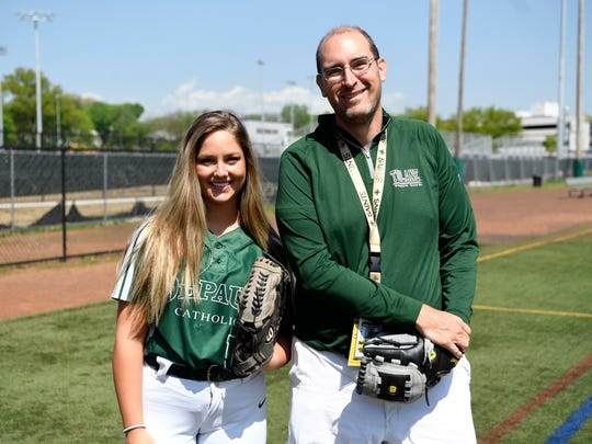 DePaul senior catcher Dominique Coiro and Northjersey.com columnist Darren Cooper on the school softball field in Wayne, NJ on Tuesday, May 8, 2018.