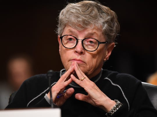 Lou Anna Simon, former President, Michigan State University testifies before a Senate subcommittee facing questioning about the sex-abuse scandal involving former team doctor Larry Nassar on June 5, 2018 in Washington.