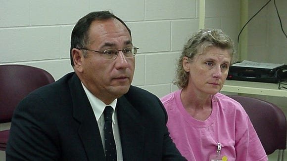 Debra Jenner, pictured with her attorney, at a parole hearing in 2004.