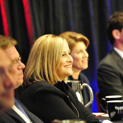 Megan Barry smiles during the NashForward debate in