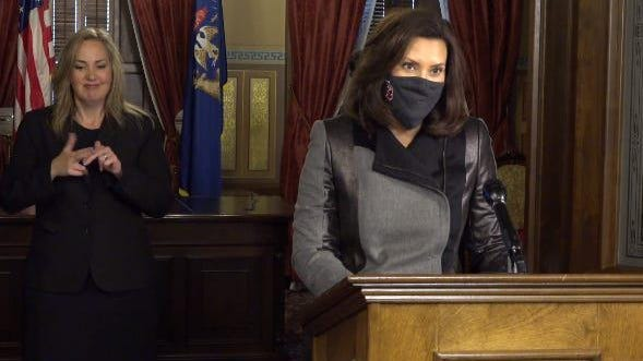 Gov. Whitmer appears at a press conference on Oct. 21, 2020.