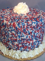 A red, white and blue sprinkle cake from Cake That!