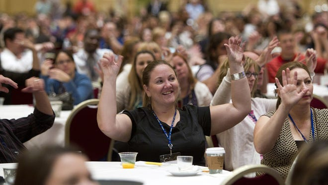 About 2,000 new teachers take part in a Clark County School District orientation session at the Venetian Resort in Las Vegas.