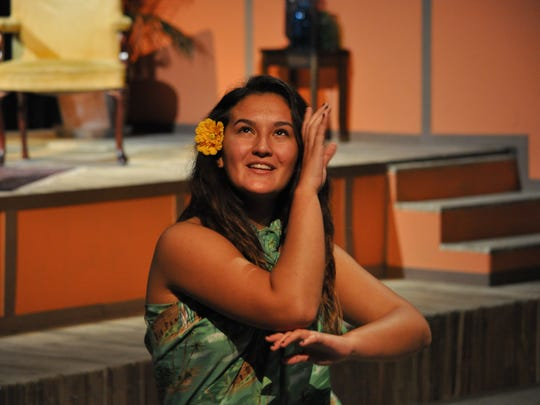 """Nicole Kiefer, a Louisiana College freshman from Hawaii, puts her hula dancing background to use during theatre louisiana college's production of Shakespeare's """"12th Night."""""""