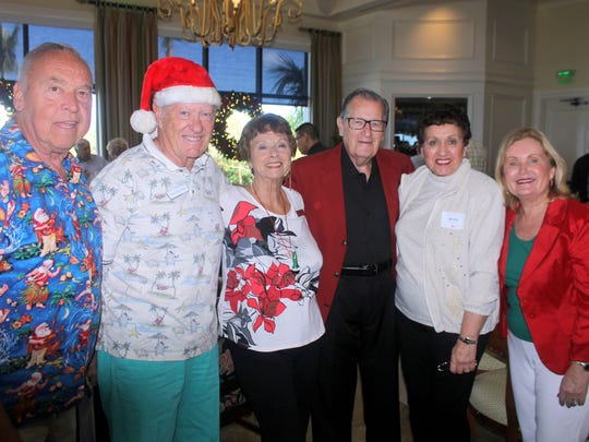 John Minuitti, Silky Sullivan, Doris Boston, Bill Buetow, Marge Buetow and Donna Kittle are in a festive mood.