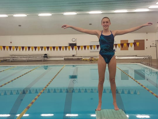 Windsor High School diver Makena Sanger, pictured three years ago, was named the Colorado Class 4A Diver of the Year on Friday and finished fifth at the state championships in Thornton.