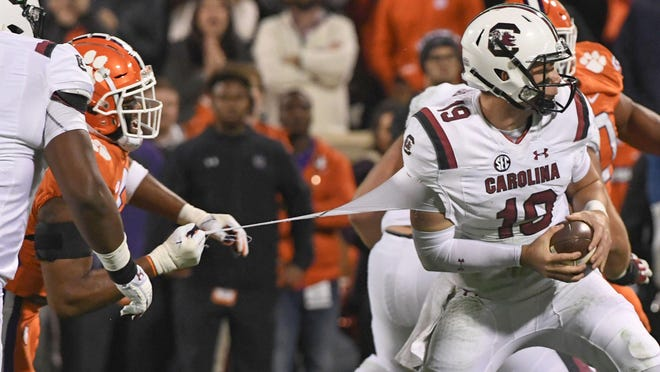 Quarterback Jake Bentley, trying to escape Clemson's Austin Bryant in 2018, missed all but one game at South Carolina last season because of a foot injury. He hopes to start for Utah this year.