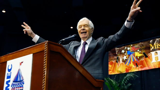 Republican U.S. Sen. Thad Cochran of Mississippi responds to the crowd applause following his campaign speech at Hobnob, a casual gathering of business people at the Mississippi Coliseum, in Jackson, Miss. Cochran faces Democrat Travis Childers and Reform Party candidate Shawn O'Hara in the general election next Tuesday. (AP Photo/Rogelio V. Solis)
