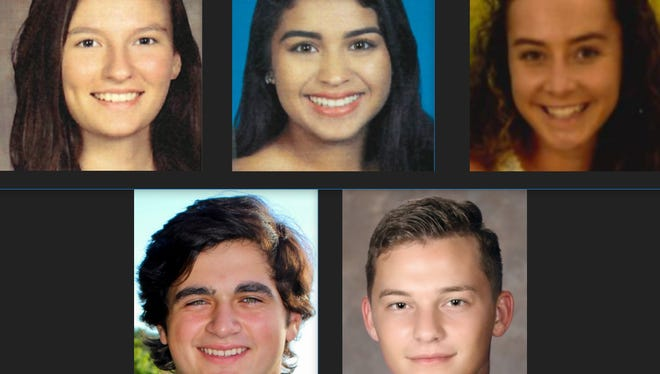 2018 Hillmyer-Tremont scholarship recipients (clockwise from top left): Ashley Revis (Ida Baker), Alicia Ramirez (East Lee County), Caleigh Kenna (Cape Coral), Tattum Logsdon (South Fort Myers) and Brendan Fritz (Canterbury).