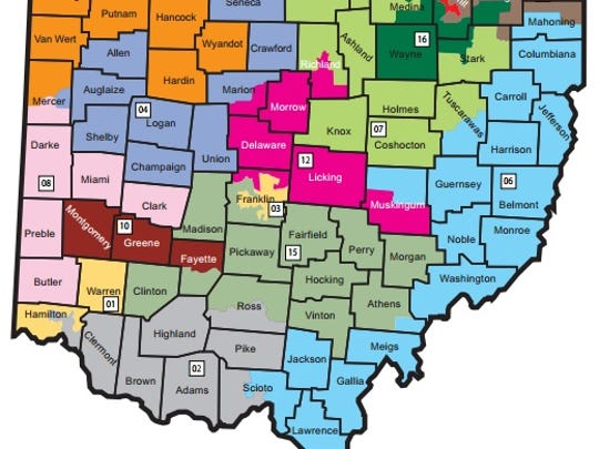 Ohio's congressional districts, as of 2011 redistricting