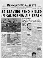 The front page of the Thursday, May 7, 1964 edition of the Reno Evening Gazette.