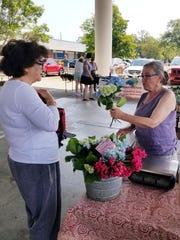 Louise Divine of Turkey Hill Farm sells hydrangeas