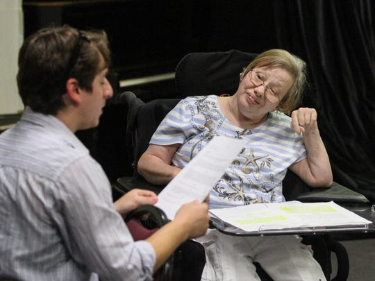 Cheryl Chapin of Basking Ridge, right, listens to RVCC theatre major Chris Esmerado of Bernards as they rehearse a scene together at RVCC's Welpe Theatre on July 27, 2016. Clients from Matheny Medical and Educational Center in Peapack-Gladstone, as part of MathenyÕs Arts Access Program, are participating in a theatre program at RVCC in Branchburg that will result in an August 10 performance at RVCC.