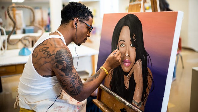 Pictured is Xavier Ayers participating in an art class at Western New Mexico University in Silver City.