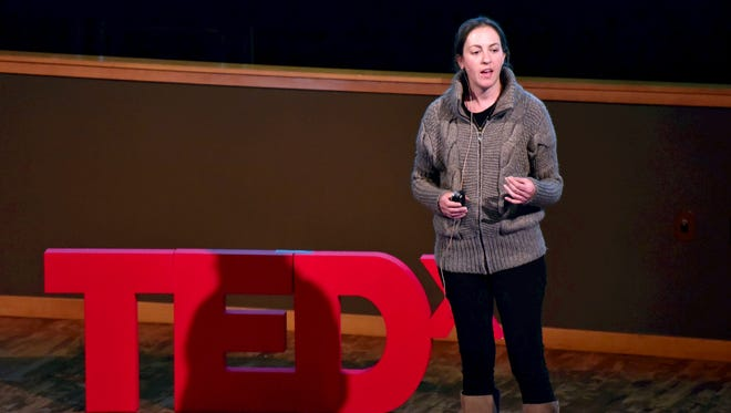 Jennifer Gurecki rehearsing for TEDxUniversityofNevada on Dec. 11. This is her third rehearsal for a topic about views of poverty in the west vs. Africa. The TEDx event takes place Jan. 23, 2016.