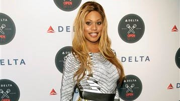 Actress Laverne Cox attends the Delta Open Mic with Serena Williams event Wednesday in New York.