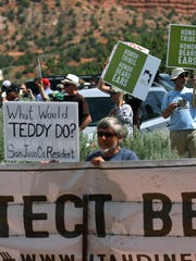Supporters of Bears Ears National Monument wait for Interior Secretary Ryan Zinke on May 8, 2017, at Butler Wash southwest of Blanding, Utah.