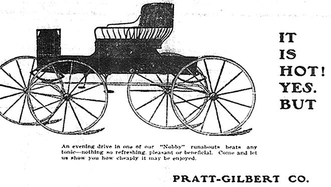 """Automobiles were a rarity in Tempe when this ad ran in 1906, promoting as better than """"…any tonic – refreshing, pleasant or beneficial,"""" to escape the heat an evening ride in a Nobby Runabout."""