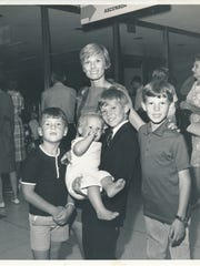 Cloris Leachman with her children, George, Adam, Morgan and Bryan.