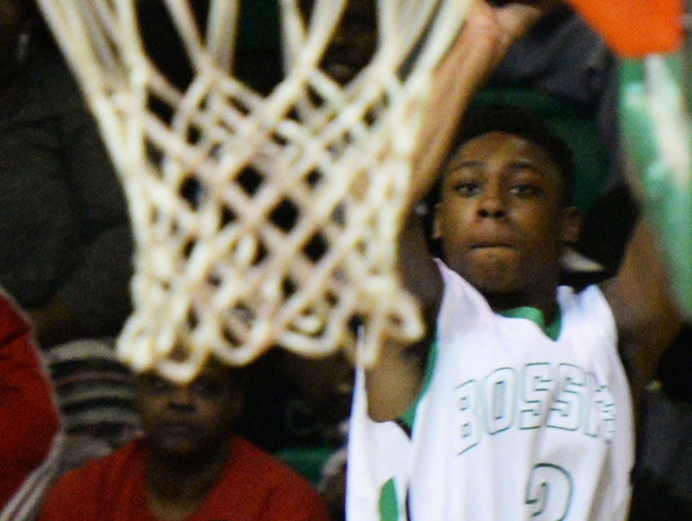 Bossier's Larry Robinson shoots from distance against visiting North Caddo in a game earlier this season.