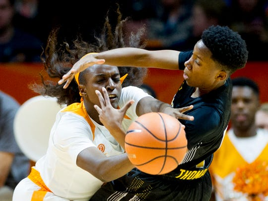 Tennessee's Meme Jackson (10) blocks a shot by Wichita State's Keke Thompson (1) during a game between the Tennessee Lady Vols and Wichita State at Thompson-Boling Arena in Knoxville, Tenn., on Monday, November 20, 2017. (Calvin Mattheis/Knoxville News Sentinel via AP)