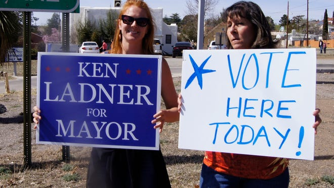 Hallie Richwine, left, and Connie Perez, both of Silver City, were out in support of mayoral candidate Ken Ladner on Tuesday in Silver City.