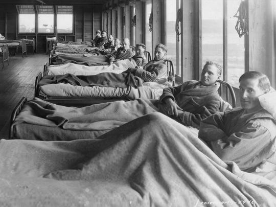 Male tuberculosis patients began being admitted to the Michigan State Sanatorium in 1907. The facility in Marion Township began accepting female patients the next year.